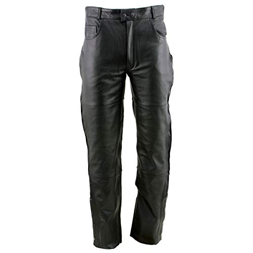 Xelement B7470 Men's Black Premium Leather Motorcycle Overpants with Side Zipper and Snaps - 30