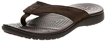 Crocs Men s Santa Cruz Leather Flip Flop espresso/espresso 8 M US