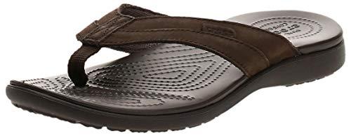 Crocs Men's Santa Cruz Leather Flip Flop, Espresso/Espresso, 12 M US