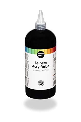 Perfect ideaz Peinture Acrylique Noir 1.000 ML, Fort Pouvoir Couvrant, créative Noir, idéale pour mélange avec d'Autres peintures, Accessoire pour Peinture et Dessin à l'Acrylique