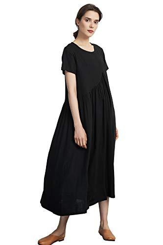 Sellse Womens Linen Cotton Casual Soft Dress Fashion Large Plus size Clothing