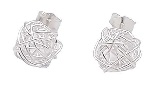 Shabana - Pendientes de ovillo de hilo de plata sobre clavo – Idea regalo San Valentín para mujer – Joya original