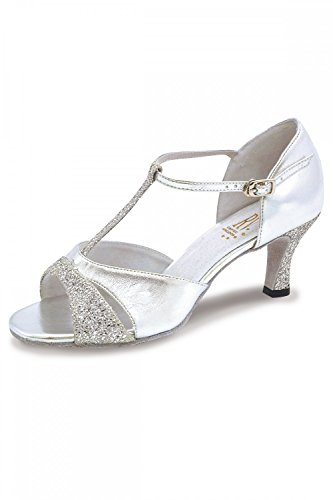 Dancewear Central Damen Ladies Ballroom Shoes Lucina Ballsaal Schuhe, Silber, UK 6 / EU 38,5