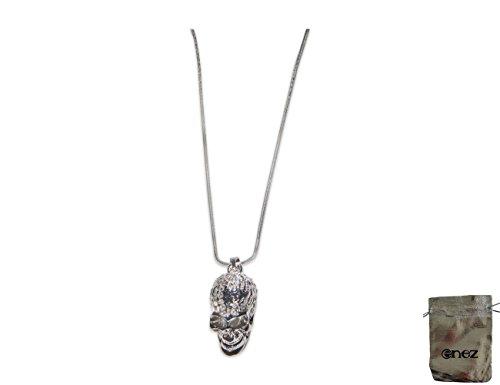Enez Halskette mit Totenkopf-Anhänger 18 Karat Vergoldet Silber L: 48cm + Geschenkbeutel T177d