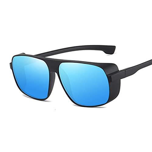 FDNFG Gafas de Sol Retro Steampunk Gafas de Sol Hombres Mujeres Diseñador Redondo Metal Steam Punk UV400 Gafas de Sol Hembra Gafas de Sol (Lenses Color : Black Blue)