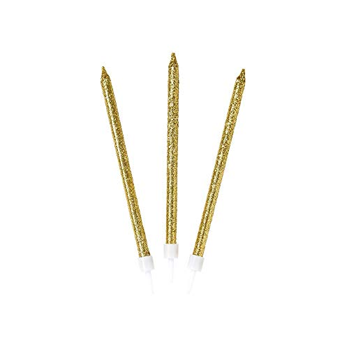 Talking Tables Party Decorations Gold Glitter Birthday Cake Candles 16Pk, Height 10cm, Christmas