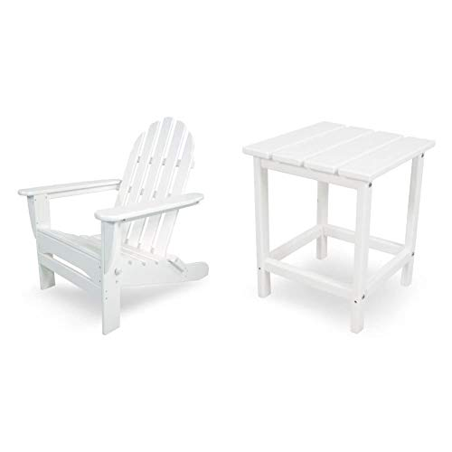 """POLYWOOD AD5030WH Classic Folding Adirondack Chair, 35.00"""" x 29"""" x 35.00"""", White & ECT18WH Long Island 18"""" Side Table, White"""