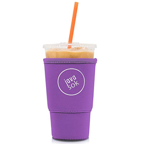 Java Sok Reusable Iced Coffee Cup Insulator Sleeve for Cold Beverages and Neoprene Holder for Starbucks Coffee, McDonalds, Dunkin Donuts, More (Popping Purple, 30-32oz Large)