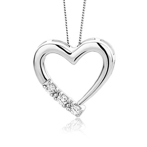 Orovi Damen Diamant Kette Weißgold, Halskette mit Herz-Anhänger 14 Karat (585) Gold und Diamanten Brillanten 0.08 Ct, 45 cm lang