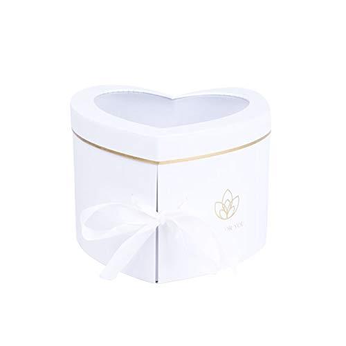 Herzförmige Blumenbox, Interne rotierende Doppelschicht Papier Box mit transparentem Oberlicht Geschenkbox mit Deckel Florist Packbox für Valentinstag Hochzeit Geburtstag Neujahrsgeschenk (Weiß)