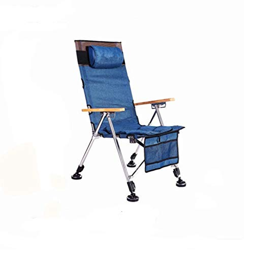 ch-AIR Chaise De Pêche Pliante avec Tirette Assiette Chaise De Pêche Polyvalente Chaise De Plage Confortable Chaise De Pêche Pliante Réglage du Dossier (Color : Blue)