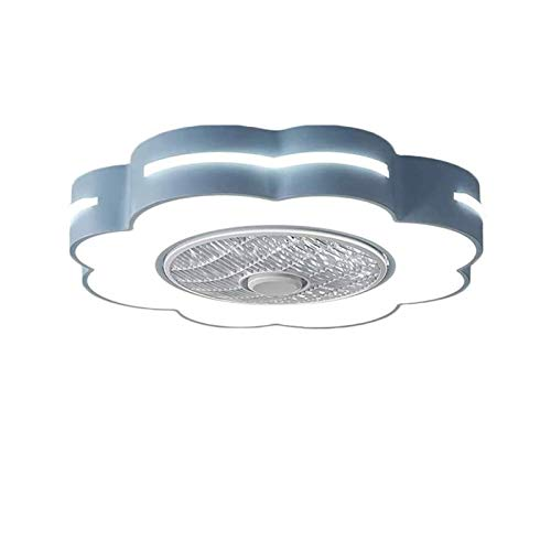 QJUZO Ventiladores de Techo Silencioso con Lámpara, Moderno LED Luz Mando a Distancia Regulable, Metal Invisible Fan Lámpara para Verano, Niños Lámpara, Ø58cm, 46W,Azul