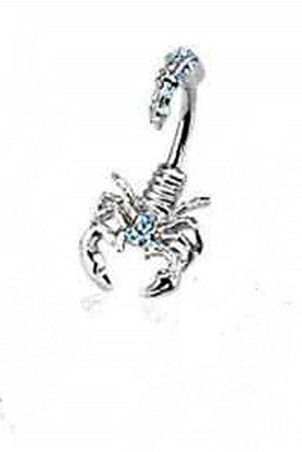 Gekko de piercings para el cartílago acero quirúrgico de gran calibre 14 (1,6 mm) Scorpion Piercing para la barriga con Aqua Multi Gemmed cabeza y cola