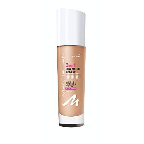 Manhattan 3in1 Easy Match Make Up, ölfreie Foundation für einen makellosen Teint, Farbe 39 Natural, 30ml
