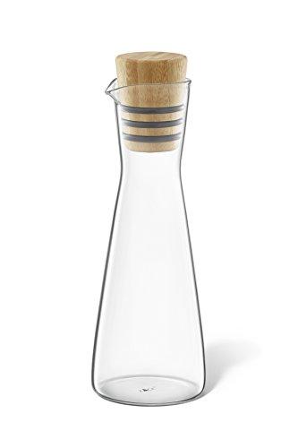 """ZACK 20877 \""""BEVO\"""" Essig-/ Ölflasche, Glas und geöltem Bambus"""