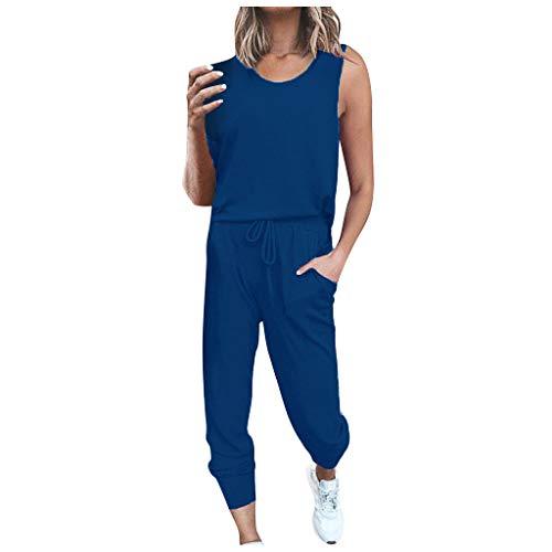 TOPSELD Damen 2 Stücke Sets Outfit Sport Yoga Fitness Lose Jogginganzug mit Kordelzug Beiläufig T-Shirt Top und 7/8 Länge Hose(Blau,L)