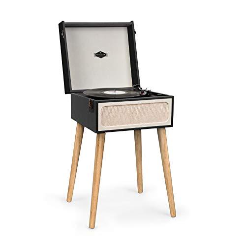 auna Sarah ANN - Tocadiscos con Altavoces Integrados, Tocadiscos Retro para Discos de Vinilo, Bluetooth, Conector de Auriculares, USB, 33, 45 y 78 RPM, Diseño de Maleta Vintage, Negro-Crema