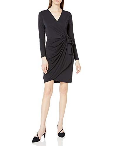 Amazon Brand – Lark & Ro Women's Classic Long Sleeve V-Neck Compact Matte Jersey Wrap Dress