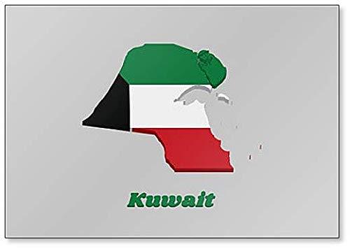 Kühlschrankmagnet, Motiv Karte & Flagge von Kuwait