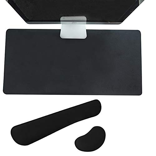 Dual-Sided Desk Pad Keyboard Mouse Wrist Rest Pad Set Multifunctional Non-Slip Leather Desk Waterproof Table Protector Blotter Laptop Desk Writing Pad for Office and Home (Black)
