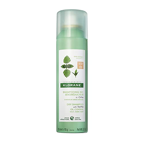 Klorane Dry Shampoo With Nettle and Natural Tint, Nettle for Brunette, Oily Hair and Scalp, Regulates Oil Production, Paraben & Sulfate-Free, 3.2 oz.