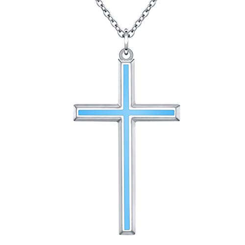 Men's S925 Sterling Silver Classic Cross Pendant Necklace 24 Inches Silver Chain (Blue Cross)