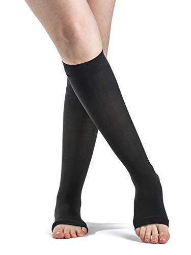 SIGVARIS Women's Style Soft Opaque 840 Open Toe Calf-High 15-20mmHg