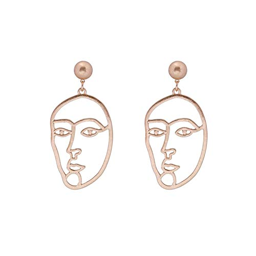 OUHUI Novelty Jewelrygold Plated Women Stud Earrings Human Face Gold 70Mm