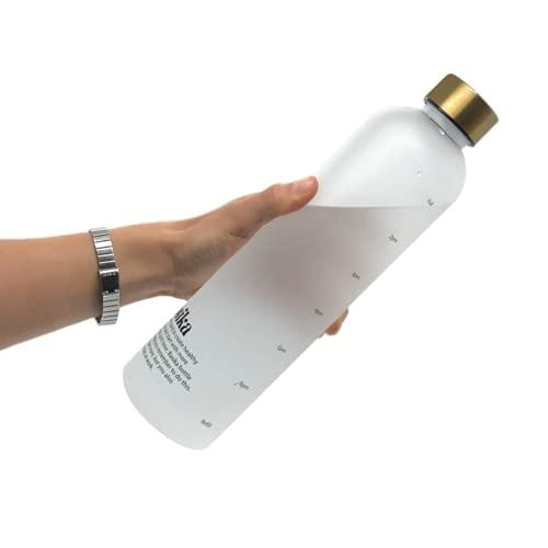 Basika Bottle, La Borraccia Che Ti Ricorda di Bere | Indicatori Orari Motivazionali | Bottiglia Ecologica Senza BPA in Tritan | Borraccia 1 litro Lavoro, Ufficio, Yoga, Palestra, Scuola, università