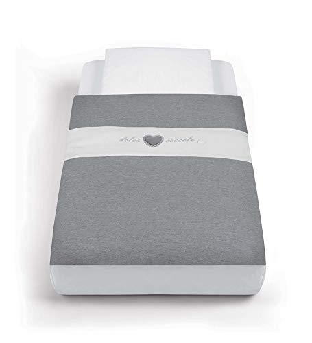 CAM Textil-Set für Beistellbett CULLAMI | gemütlicher Schlafsack mit Kissenüberzug | 100% Baumwolle (Anthrazitgrau)