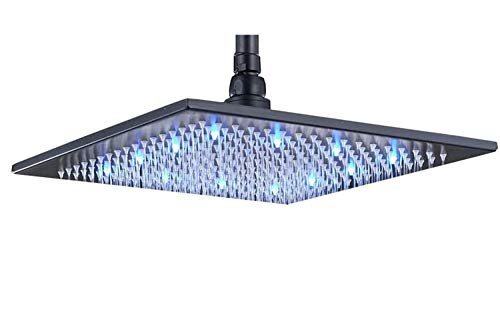 Rozin Bathroom Rainfall 12-inch Shower Head LED Light Overhead Spray Black Color