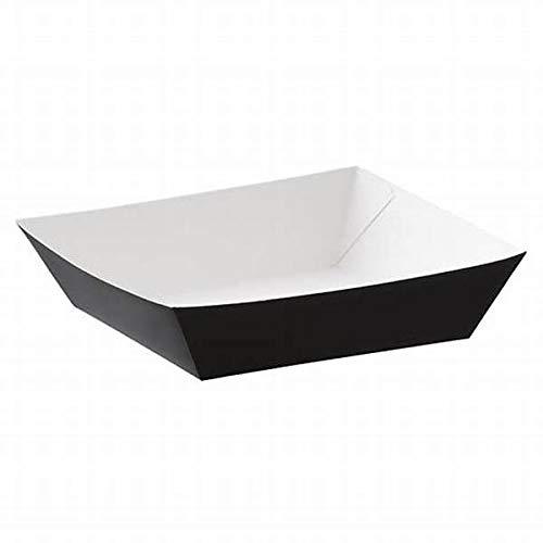 Bandejas compostables de papel negro de 1000 ml para alimentos para carnavales, 50 – 500 unidades biodegradables a prueba de fugas para ensalada y otros golosinas, plato resistente (50)