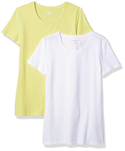 Amazon Essentials Women's 2-Pack Classic-Fit Short-Sleeve Crewneck T-Shirt, Yellow/White, Small