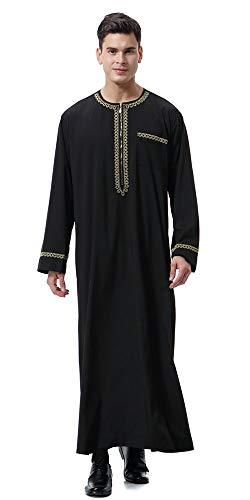 Men's Saudi Nner ronde kraag Arabische thobe islamitische Chic moslimische dubbele robe losse vintage etno-stijl tuniek tops