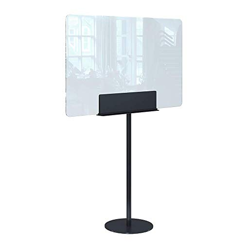 Rulopak Glastrennwand Plexiglas mit Standfuß Metall, Trenner, Trennwand, Spuckschutz, Glas (B 100 x H 140 cm)