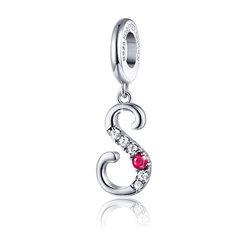 FOREVER QUEEN 925 Sterling Silver S Letter Initial Dangle Beads Charm Red Zircon Alphabet Pendants for Snake Chain Bracelets Necklace Gift Jewelry for Mother