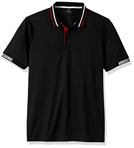 Armani Exchange AX Herren Short-Sleeve Polo Shirt Poloshirt, schwarz, X-Klein
