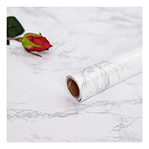 Hode Marmol Papel Adhesivo para Muebles Cocina Puerta Pared Vinilos Decorativos Papel Pintado Autoadhesivo Blanco Gris 30X200cm
