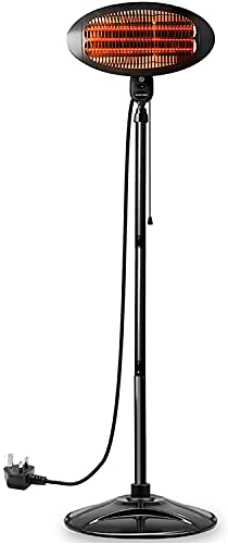 Electric Outdoor Garden Patio Heater, 2000w Electric Quartz Free Standing Heater, By Lazy Style