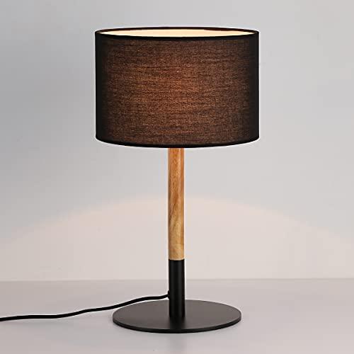 BarcelonaLED Lámpara de mesa nórdica negra con base de aluminio, cuerpo de madera y pantalla de tela, casquillo para bombilla LED E27 sobremesa escritorio salon mesita de noche