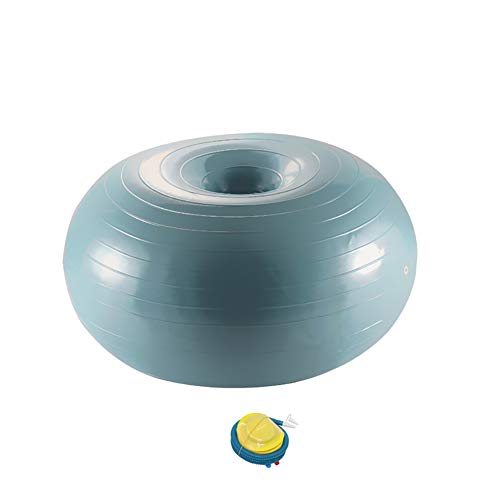 LYzpf Gymnastikball Yoga Ball Donuts Trainingsgeräte Fitnessgeräte Hilfsmittel Stuhl Stabilitätsball mit Schnellpumpe Portable Balance Ball Fitness Bälle Für Home Office Outdoor,Gray