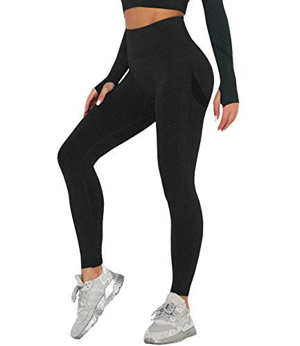 DUROFIT Mallas Pantalones Deportivos Leggings Mujer Mallas Deportivas Fitness Leggins Polainas de Yoga Training Fitness Estiramiento Negro S