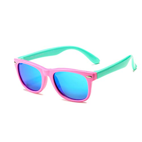 AZORB Kids Polarized Sunglasses TPEE Rubber Flexible Frame for Boys Girls Age 3-10, 100% UV Protection (Pink green/blue mirrored)