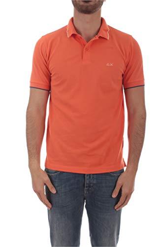 SUN 68 Polo Small Stripe ON Collar da Uomo Arancione, A30106