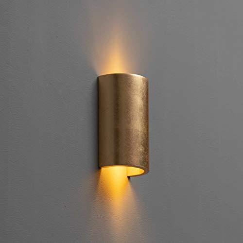 KOSILUM - Applique cylindrique en plâtre - feuille dorée Aries - Lumière Blanc Chaud Eclairage Salon Chambre Cuisine Couloir - 1 x 40 W - - G9 - IP20