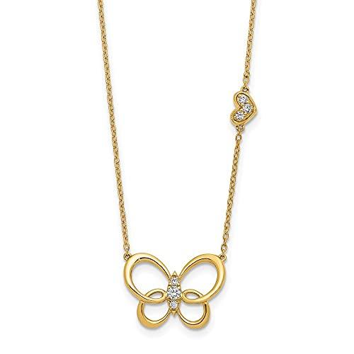 Collar de oro de 14 quilates con forma de mariposa y alas de ángel de 45,7 cm, regalo para mujer