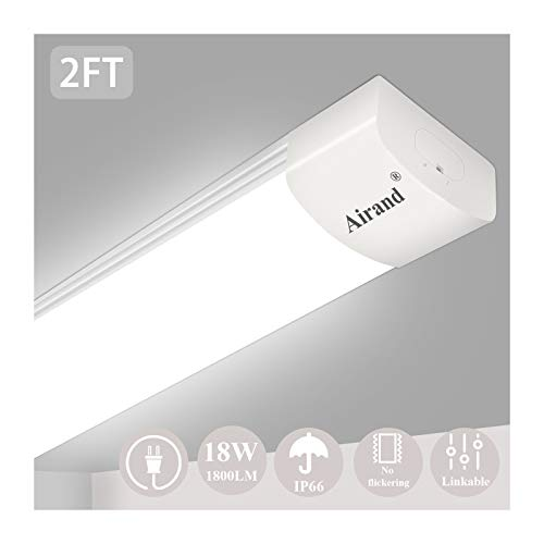 Airand 5000K LED Ceiling Light Fixture, 2FT IP66 Waterproof LED Tube Light, LED Garage Light for Bathroom, Kitchen, Corridor, Garage, Warehouse, Basement, Vanity and Office (Cool White)