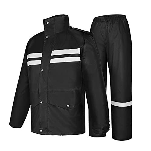 XFSHKJS Mens Womens Waterproof Jackets with Hood Raincoat, Windproof Rain Suit (Rain Gear Jacket & Trouser Suit), Rainwear for Travelling Outdoor Camping (Color : Black, Size : 3XL)
