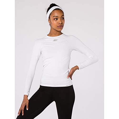 BODYCROSS T-Shirt Compression Manches Longues Femme Eleni Blanc Running, Trail, Training - Polyamide Skinlife/Élasthane - Col Rond, Coupe Compression, Evacuation Rapide Transpiration