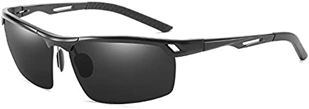 WHPSTZ New Men's Polarized Color Mirror Sports Outdoor Sunglasses Driver Dual-use Night Vision Goggles Anti-high Beam Aluminum Magnesium Sunglasses Sunglasses (Size : Black Frame Color Film)